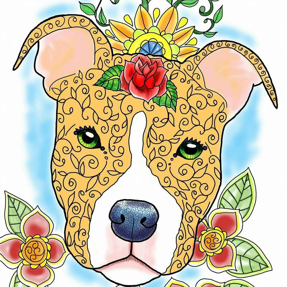 Artbyeddy pit bull coloring. Pitbull clipart spotted dog