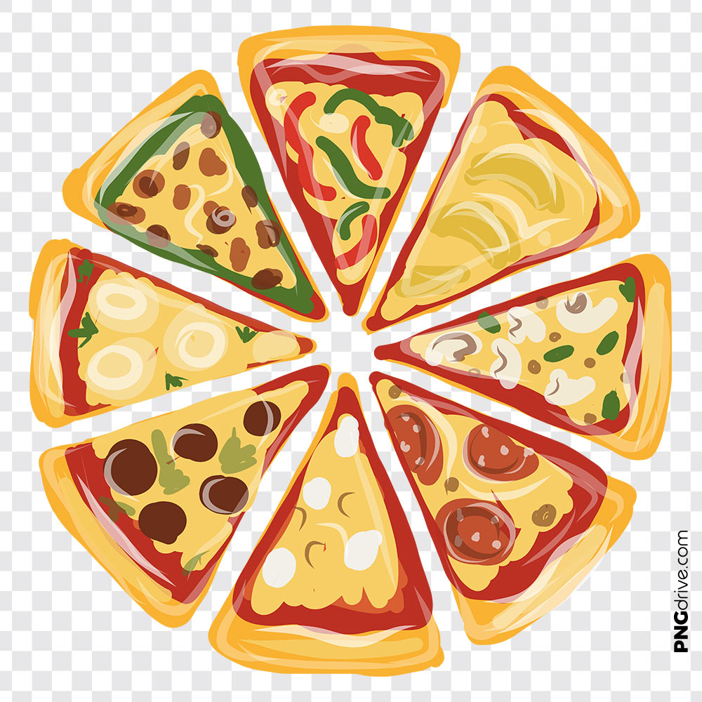 Pizza clipart top view. Vector png image drive