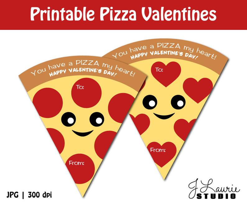 Digital printable valentines cards. Pizza clipart valentine