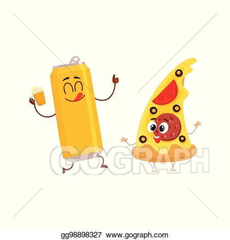 Pizza clipart yummy pizza. Vector illustration funny beer