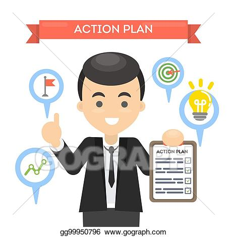 Plan clipart job. Vector illustration man with