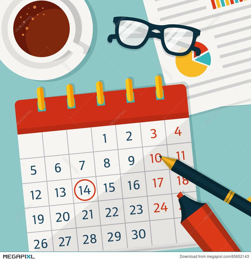 Planner clipart planning calendar. Vector concept background illustration