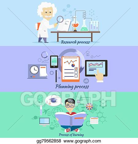 Vector stock process research. Planning clipart experience