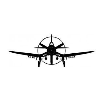 Plane clipart corsair. Silhouette aircraft metal sign