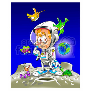 Planet clipart astronaut. On a strange royalty