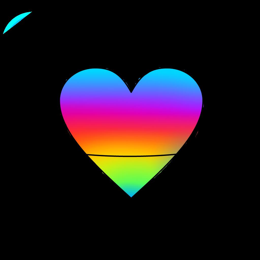 Saturn heart rainbow sticker. Planet clipart collage