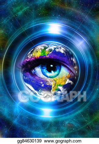 Earth in light circle. Planet clipart collage