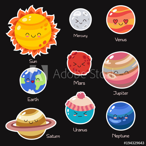 Set of vector doodle. Planet clipart comic