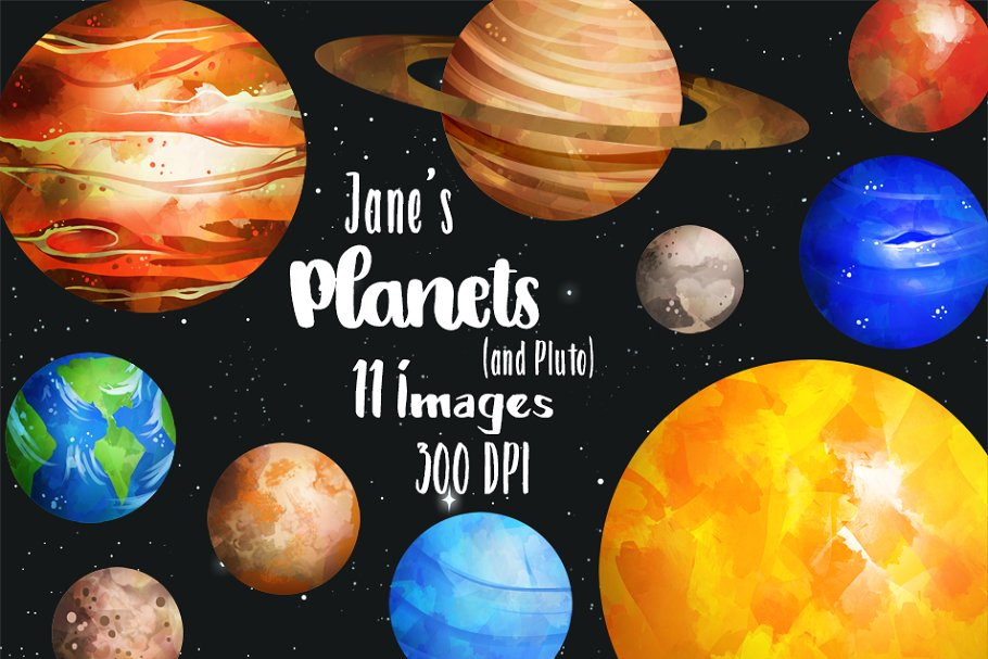 Planet clipart creative. Watercolor planets illustrations market
