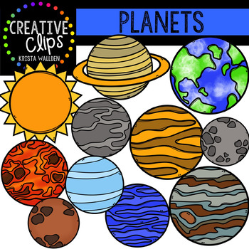 Planet clipart creative. Planets clips digital