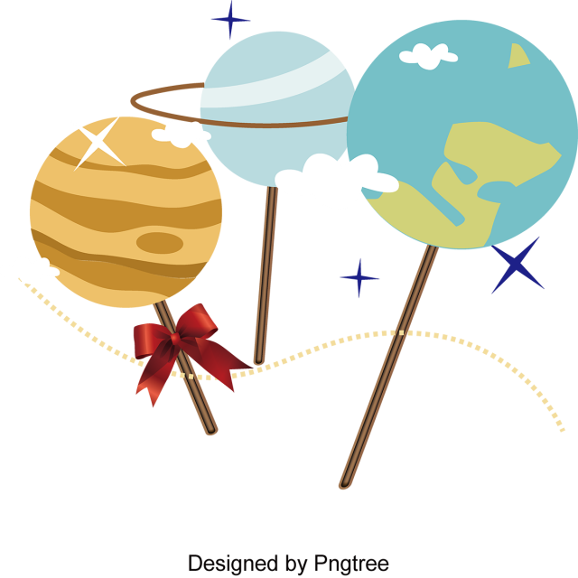 Planet clipart cute. Cartoon hand painted space