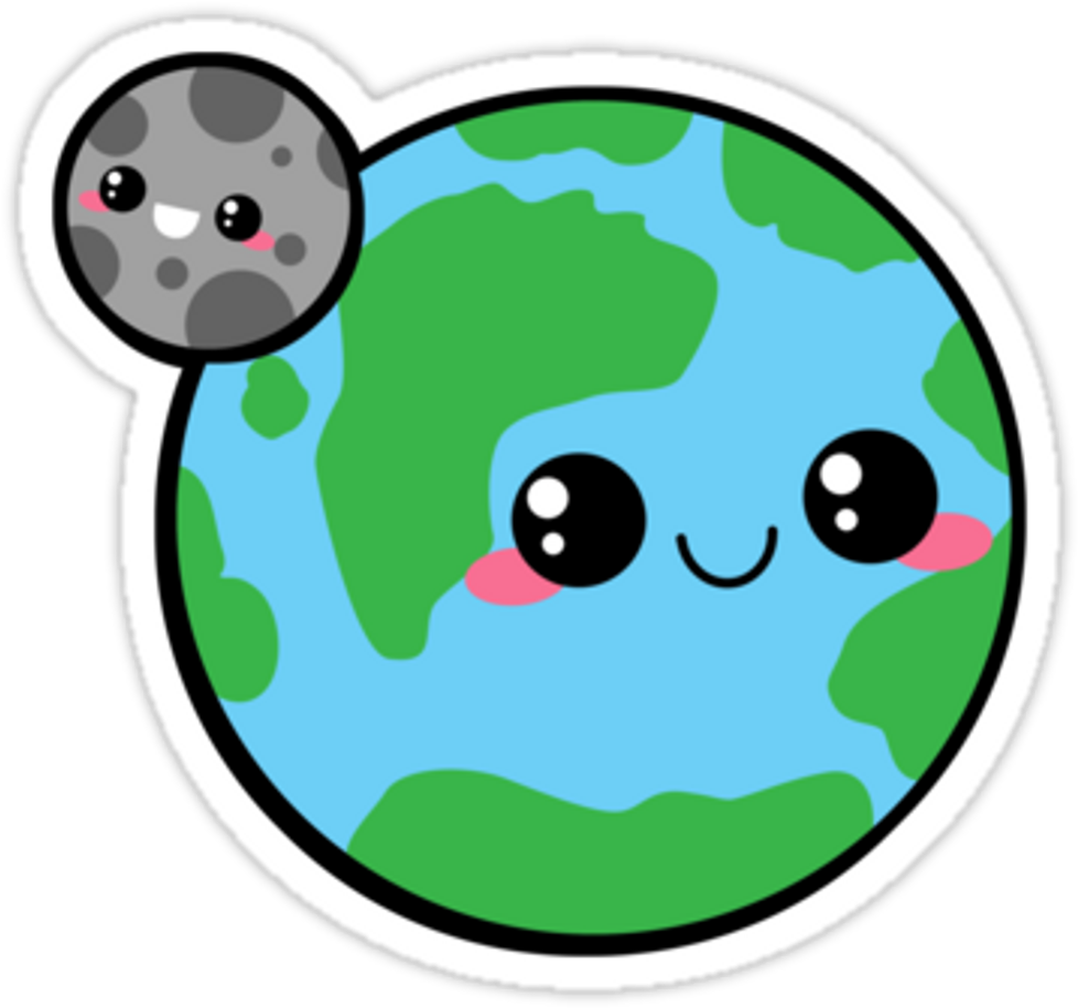 Kawaii earth moon planet. Planets clipart cute