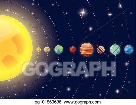 Planet clipart diagram. Eps vector solar system