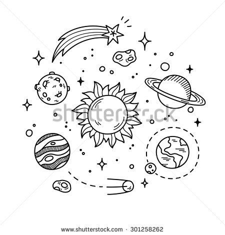 Hand drawn solar system. Planets clipart doodle tumblr
