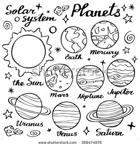 Planet clipart easy draw. Planets set hand drawn