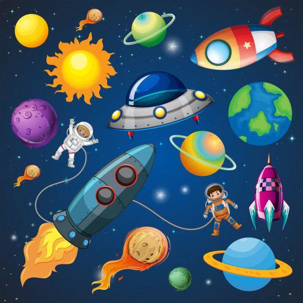 Astronauta y cohete en. Planet clipart el espacio