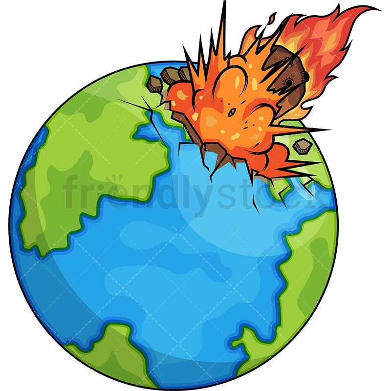 Asteroid hitting the earth. Planets clipart explosion