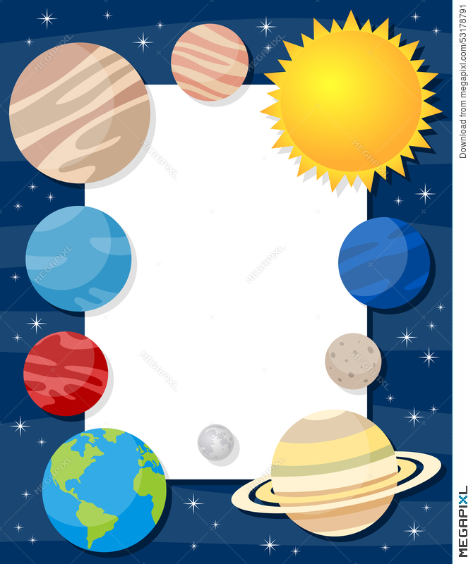 Solar system vertical illustration. Planets clipart frame