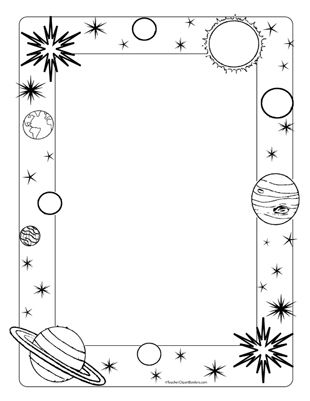 Space planets portrait blank. Planet clipart frame