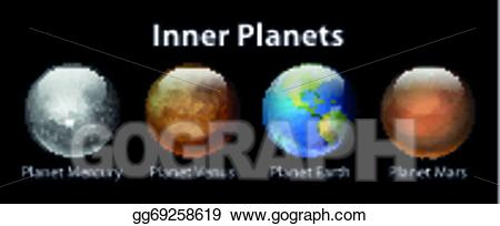 Vector illustration stock clip. Planets clipart inner planet