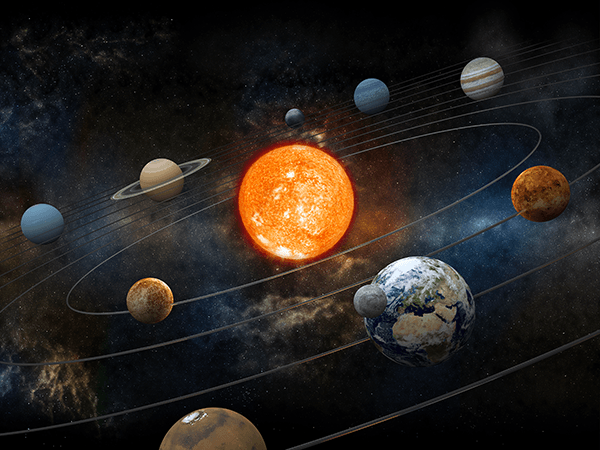 Sun and nine planets. Planet clipart orbit planet