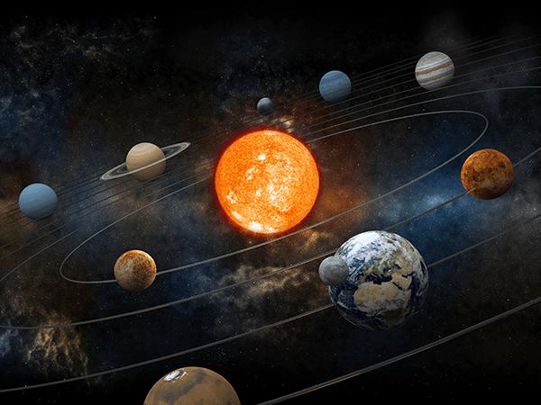 Sun and nine orbiting. Planets clipart orbit planet