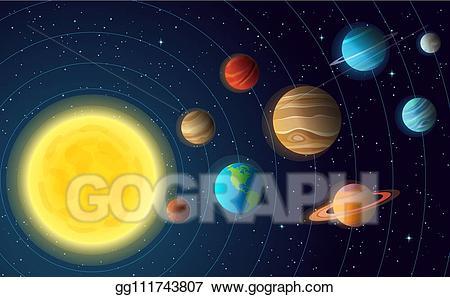 Planets clipart orbit planet. Vector solar system model