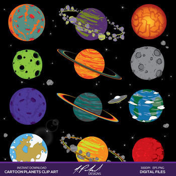 Cartoon planets in digital. Planet clipart outer space