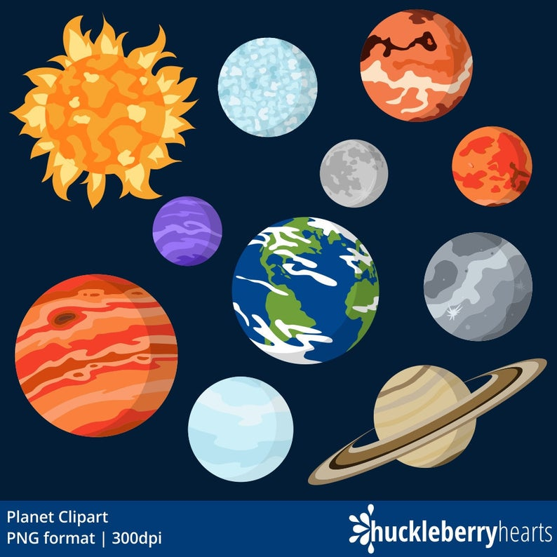 Planets clipart outer space. Planet graphics printable commercial