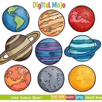 Solar system and planet. Planets clipart different