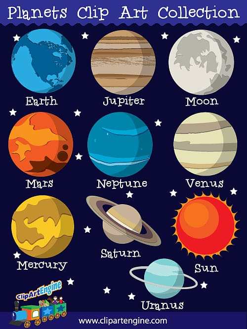 Planets clipart label. Collection the nine solar