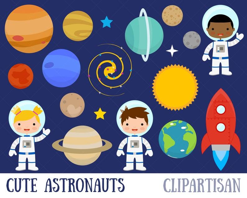 Planet clipart paper. Space planets astronaut clip