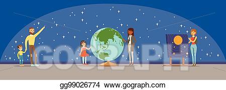 Planets clipart planetarium. Eps illustration people learning