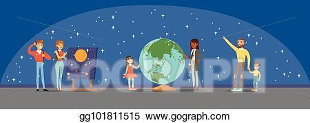 Eps illustration people learning. Planets clipart planetarium