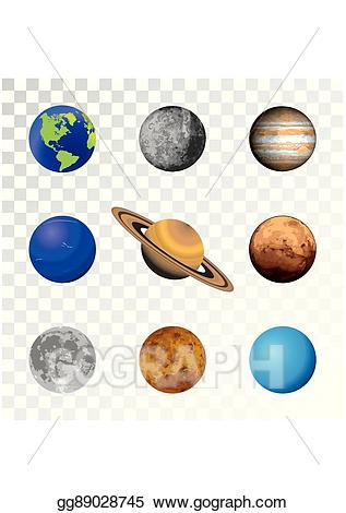 Stock colorful set on. Planets clipart vector