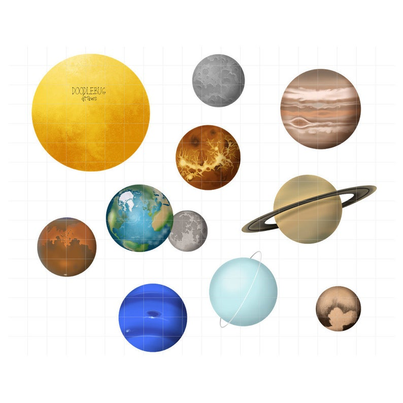 Planets solar system digital. Planet clipart printable