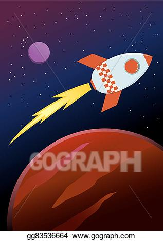 Vector ship travel through. Planets clipart rocket