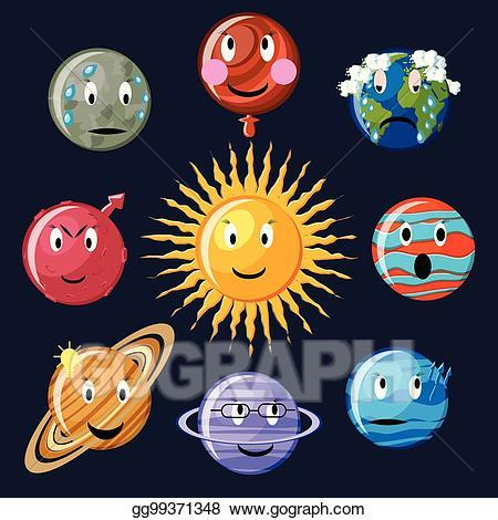 Vector illustration emoticon set. Planets clipart smiley