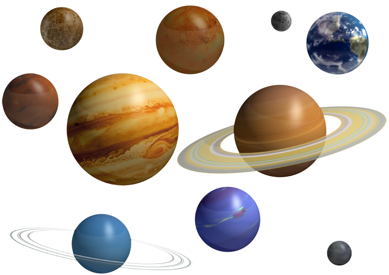 The nine planets system. Universe clipart solar planet