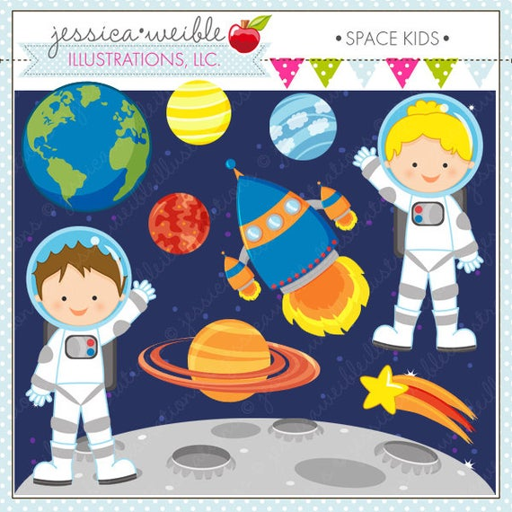Planet clipart space party. Kids cute digital for