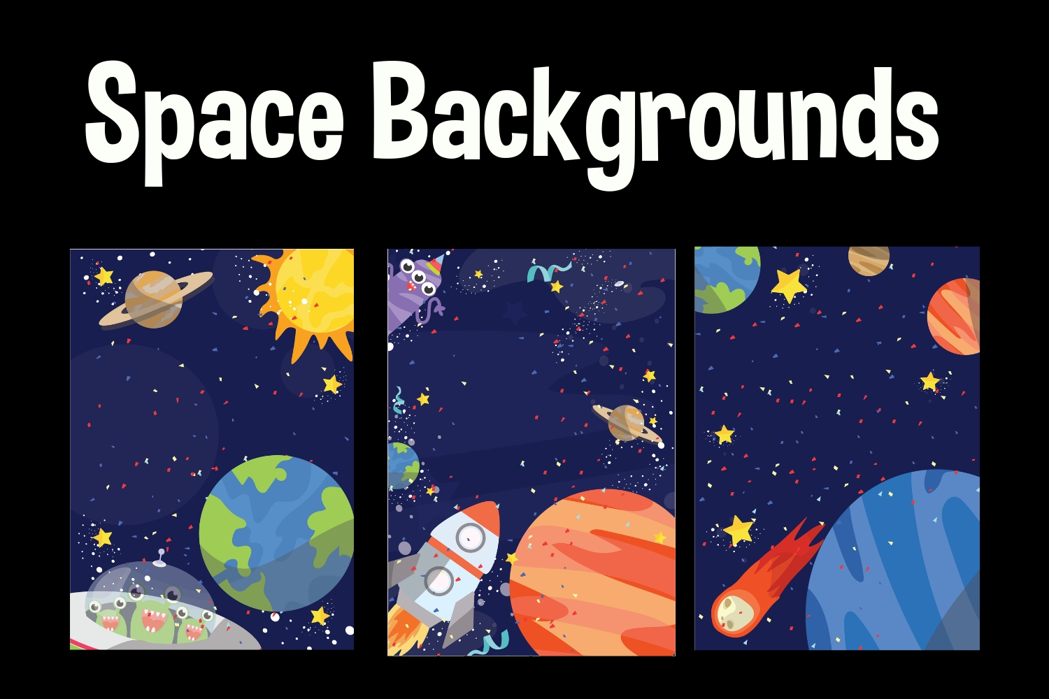 Background graphic by with. Planet clipart space party