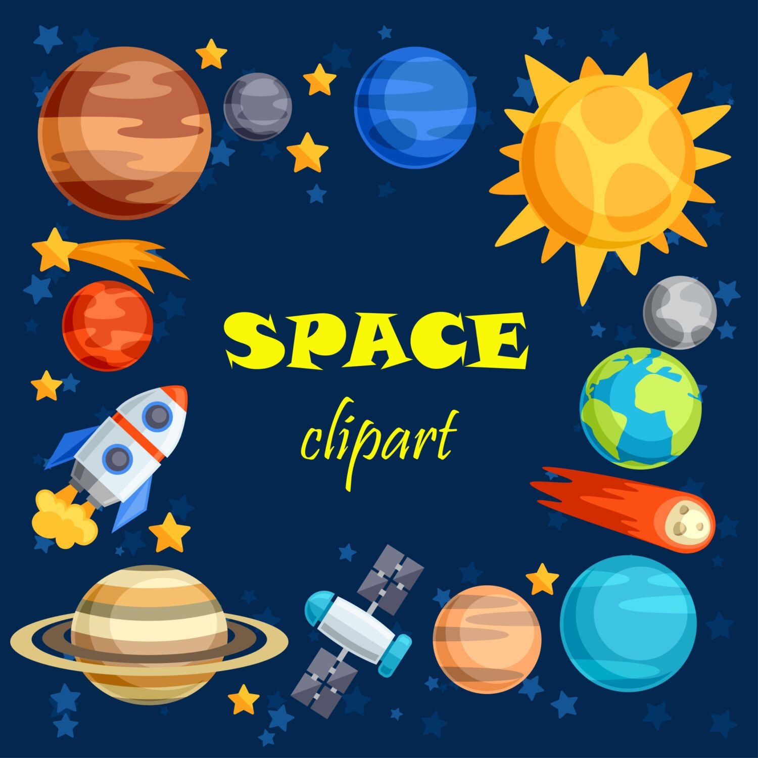 Clip art outer . Planet clipart space stuff
