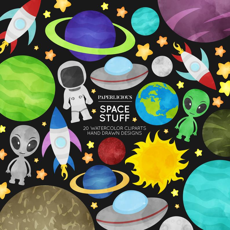 Watercolor cliparts astronaut ufo. Planet clipart space stuff