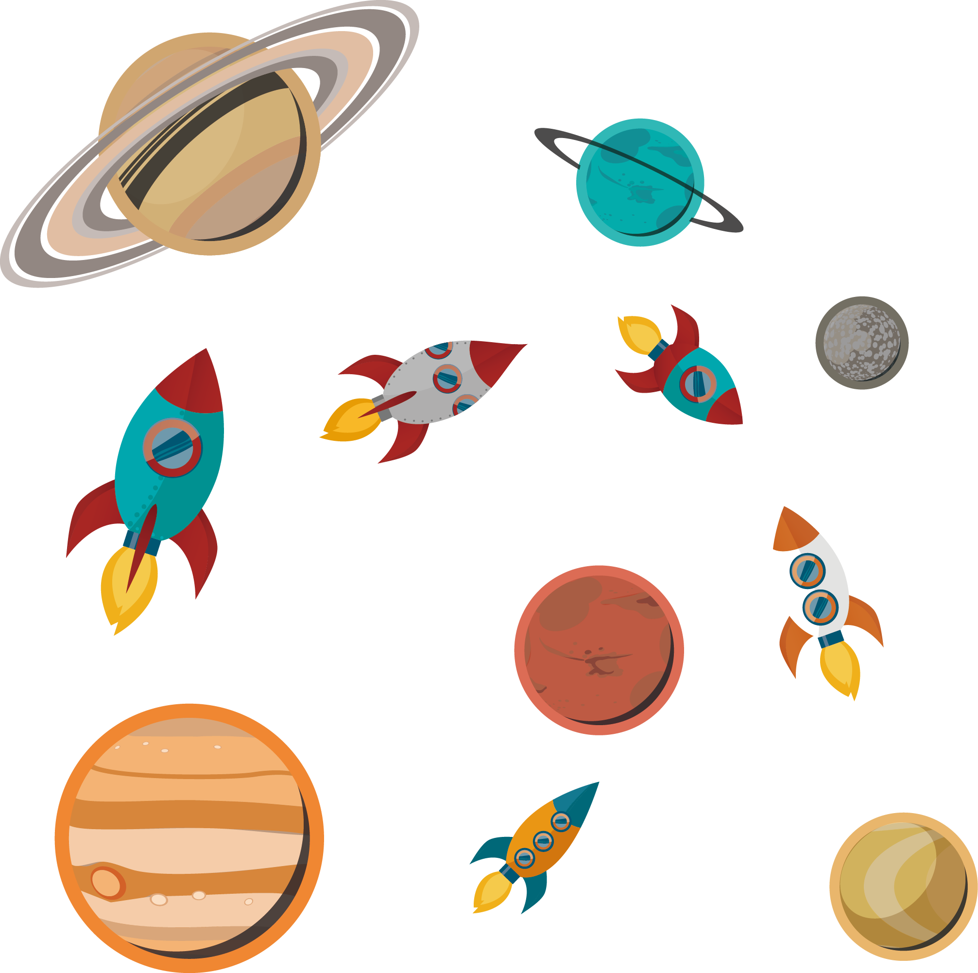 Planets clipart spaceship. Paper outer space rocket