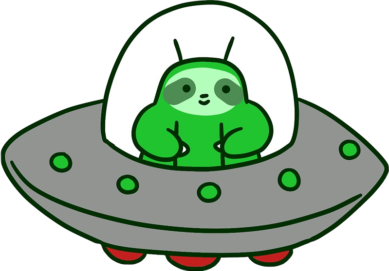Sloth ufo alien green. Spaceship clipart planet