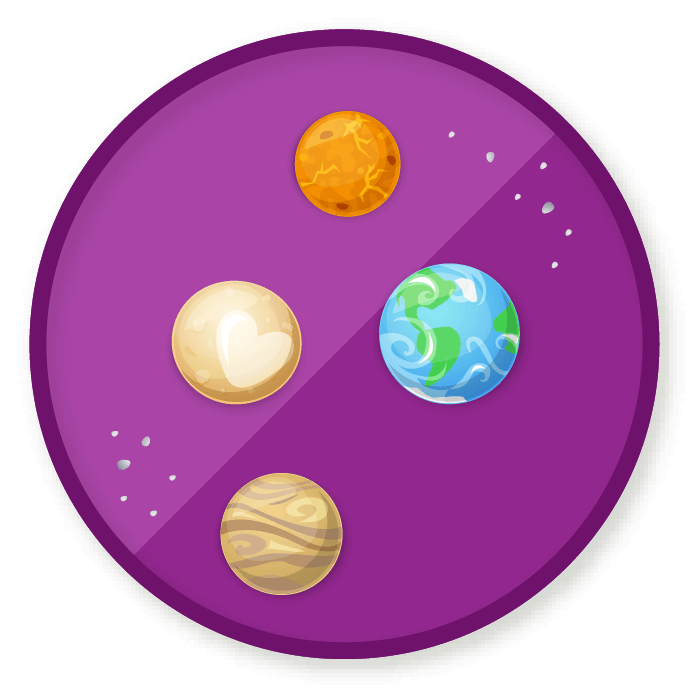 Wittywe win a badge. Planets clipart planetary