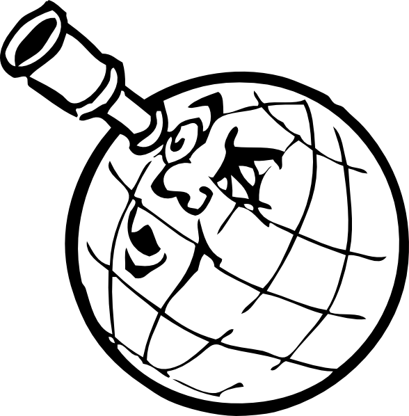 Planeten clipart. Planet with spyglass clip