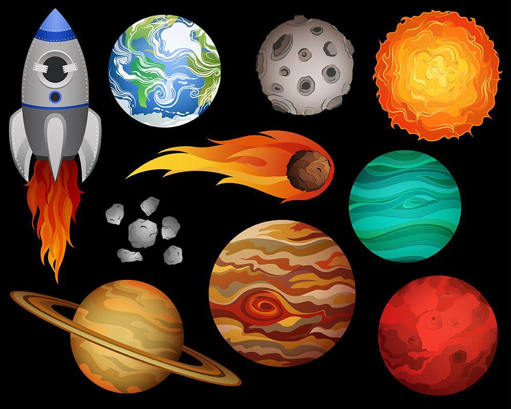 Outer space clip art. Planeten clipart