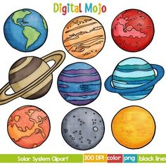 Solar system kawaii space. Planet clipart