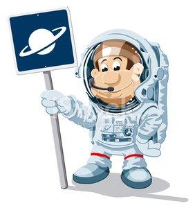 Astronaut cartoon man planet. Planeten clipart adorable